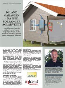 Brosjyre fra Igland garasje om ventilation med luftsolfanger fra SolarVenti